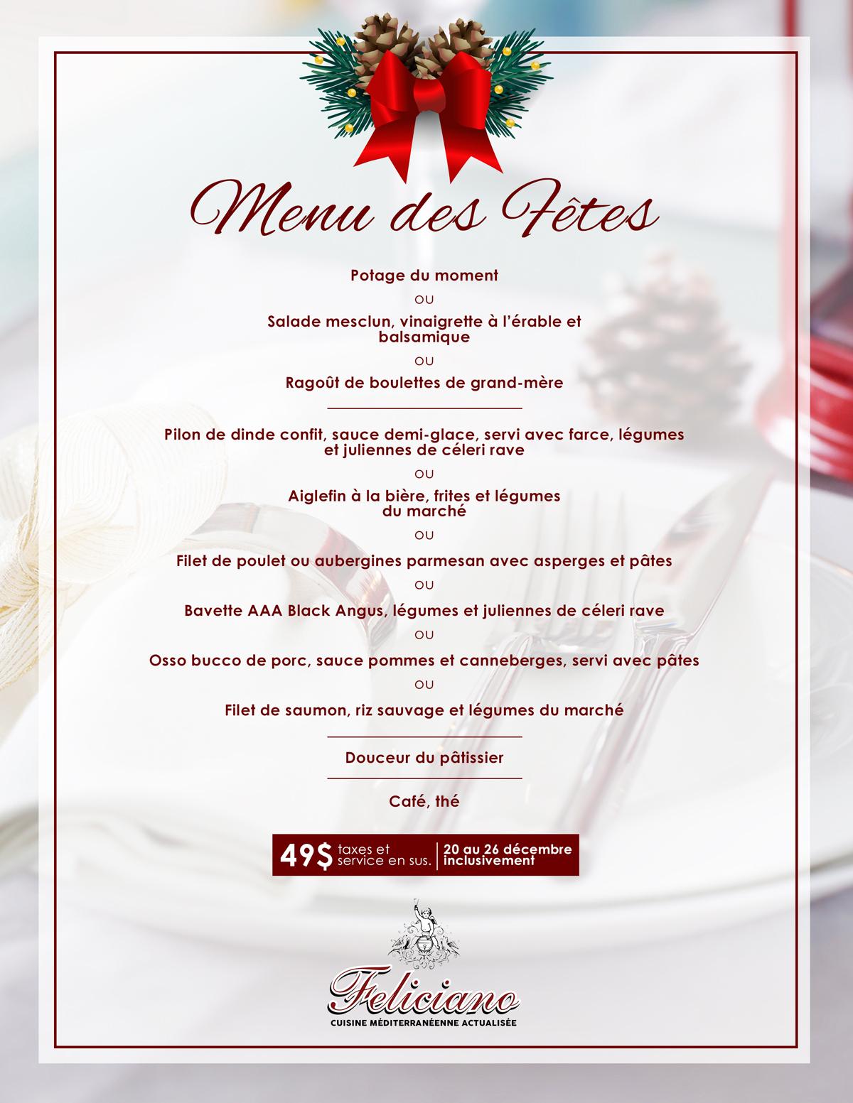 Restaurant Feliciano Holiday Menus Restaurant Feliciano
